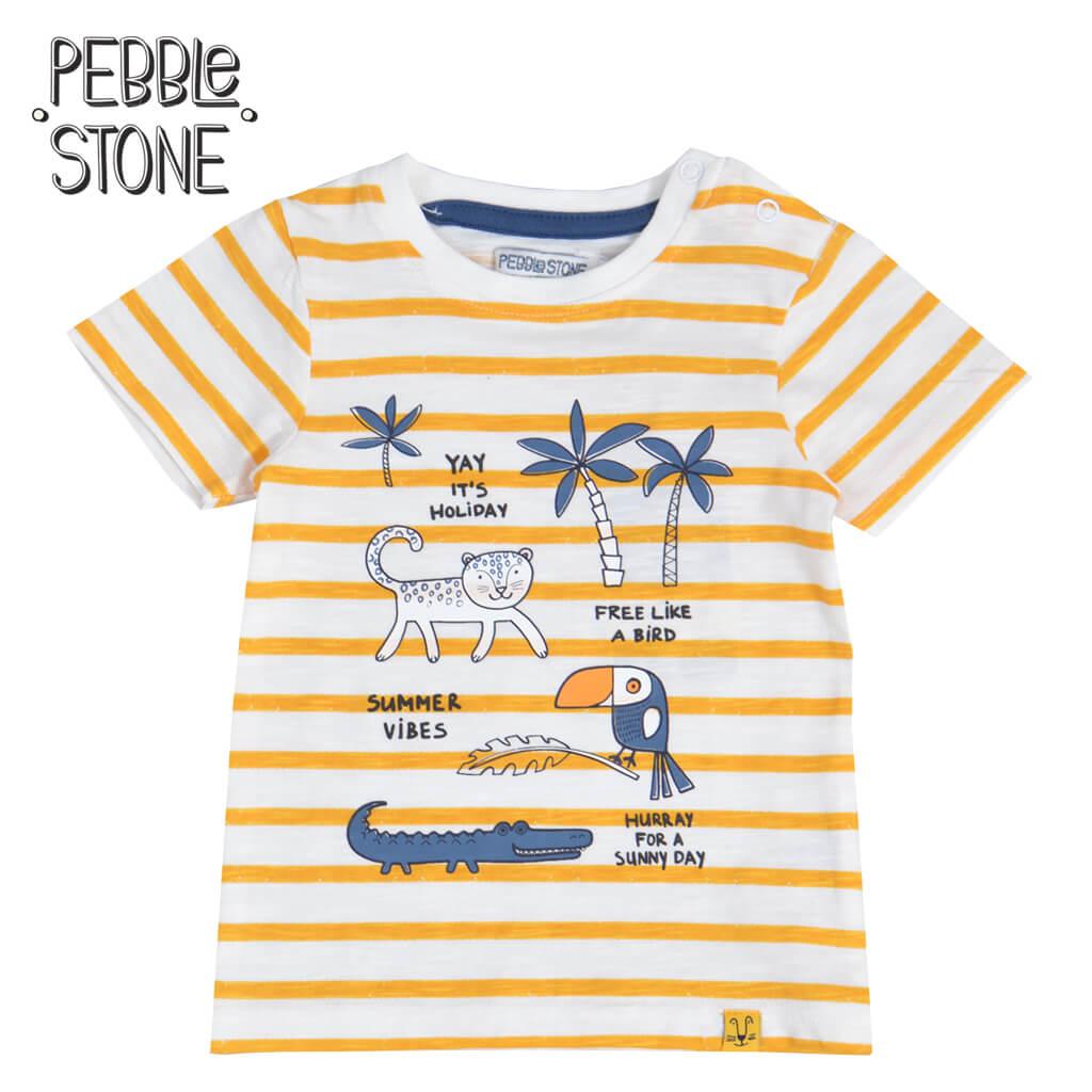 Бебешка блуза в райе с животни от джунглата жълта