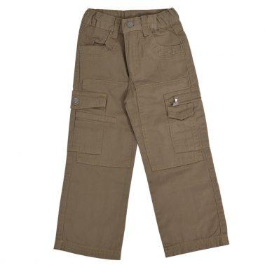 Детски прав спортен панталон с джобове в тъмно бежово