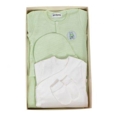 Бебешки комплект за изписване от 5 части рипсен с емблема в резедав цвят