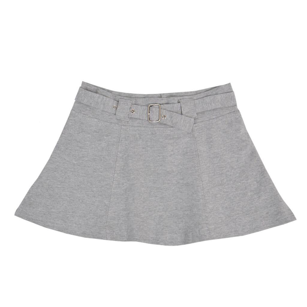 Детска пола от памучно трико с колан в сиво