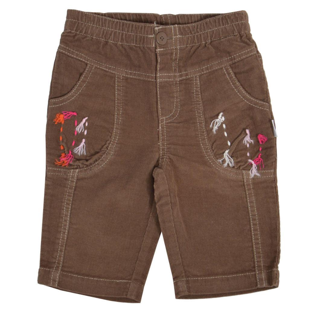 Бебешки джинси с цветна украса и прави крачоли кафяви