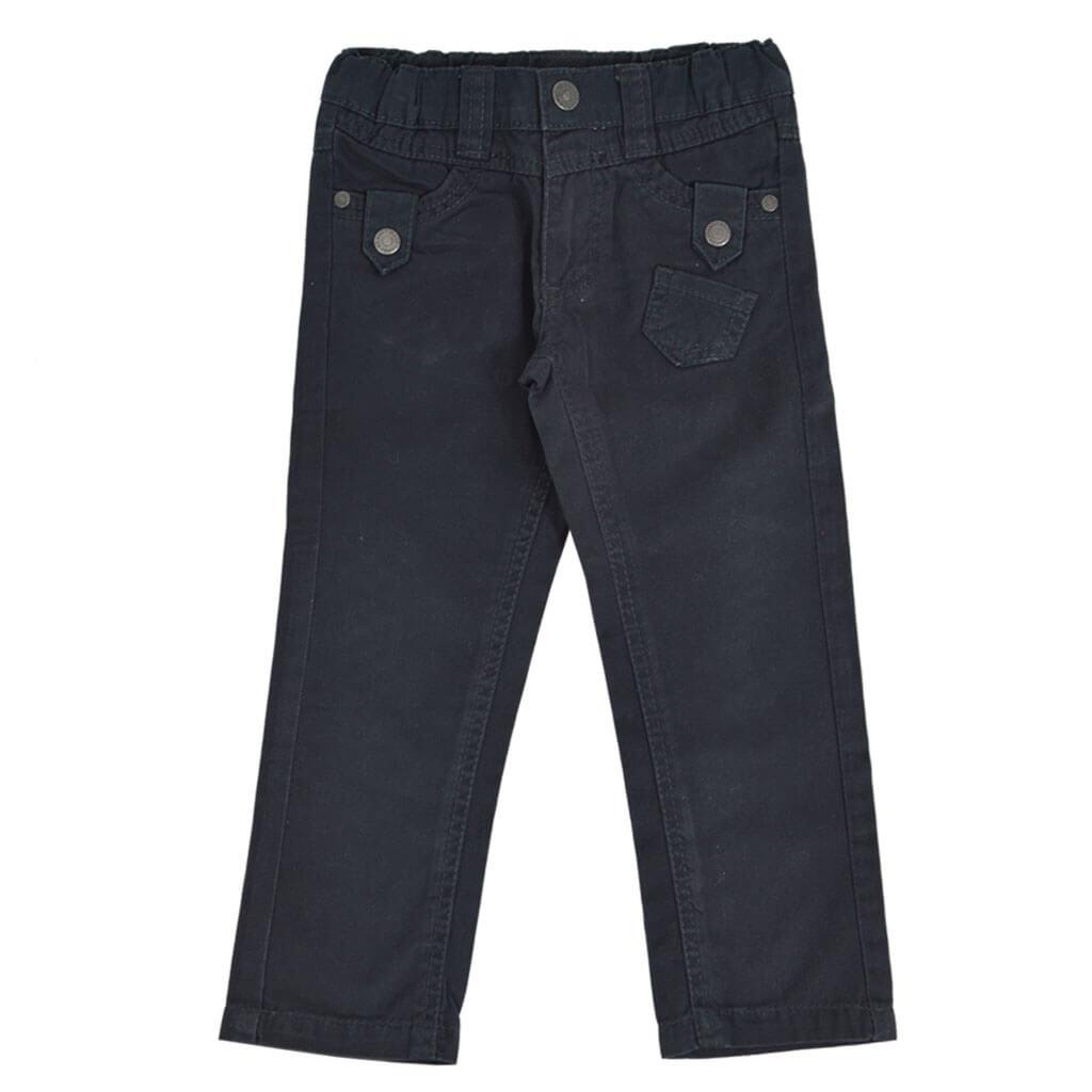 Детски прав панталон с ластик и копче черен