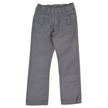 Детски прав панталон с ластик и копче сив
