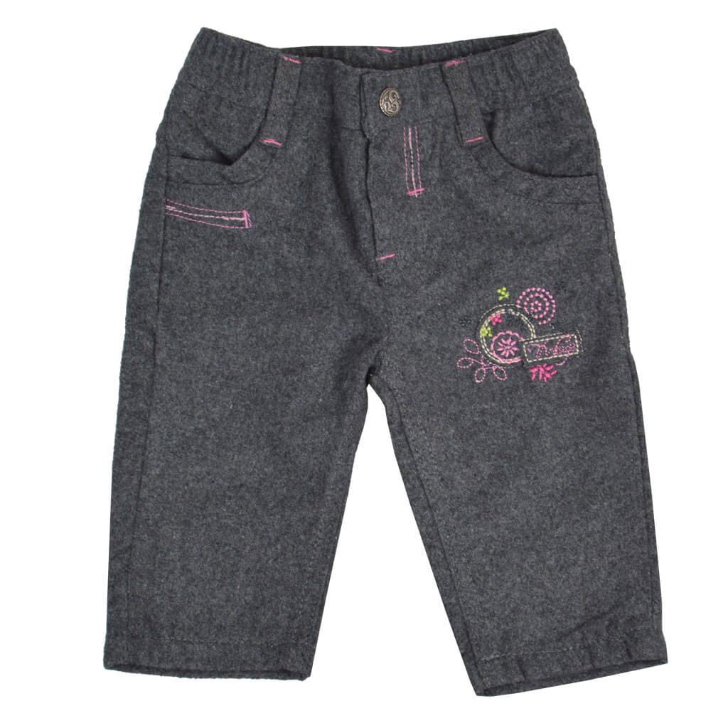 Бебешки прав панталон с подплата и бродерия тъмно син