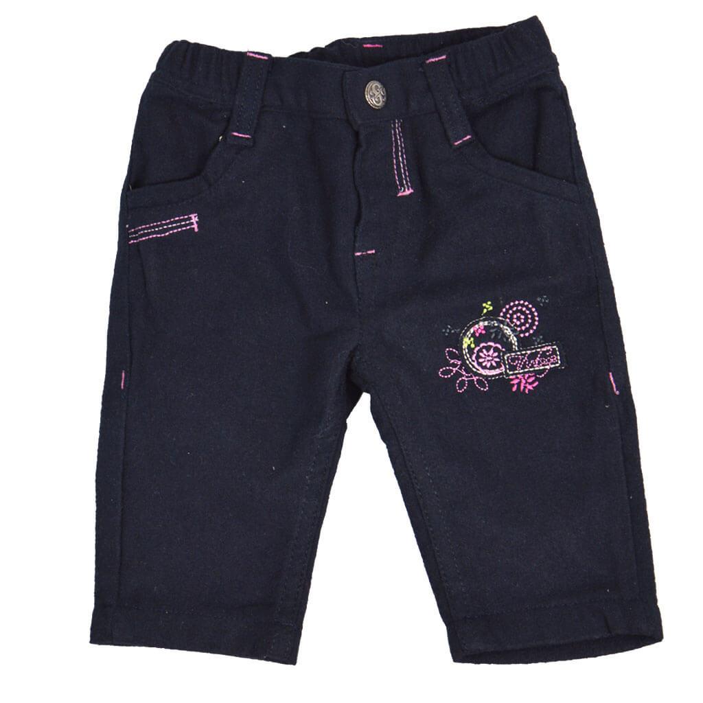 Бебешки прав панталон с подплата и бродерия тъмно сив