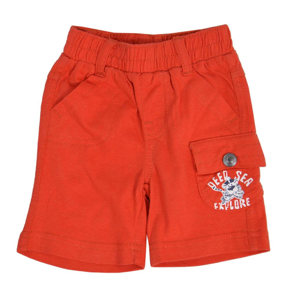Къси трикотажни панталонки с ластик в оранжево
