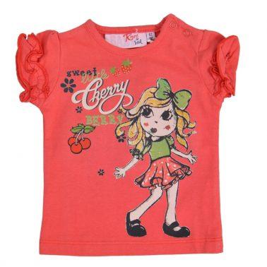 Бебешка блуза с къси ръкави и щампа с момиченце в цвят диня