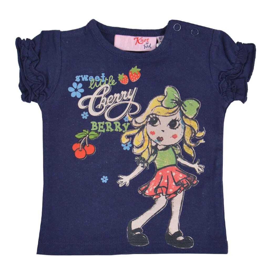 Бебешка блуза с къси ръкави и щампа с момиченце в тъмно синьо