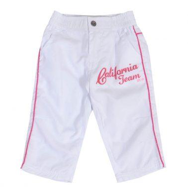 Детски летни панталонки до под коляното с цветни кантове в розово