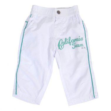 Детски летни панталонки до под коляното с цветни кантове в зелено