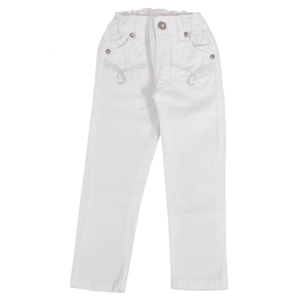 Детски цветни дънки с ластик в бяло