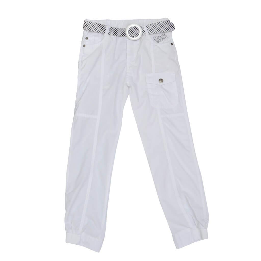 Детски памучен панталон с ластик на глезените и колан бял