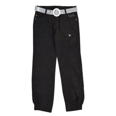 Детски памучен панталон с ластик на глезените и колан черен