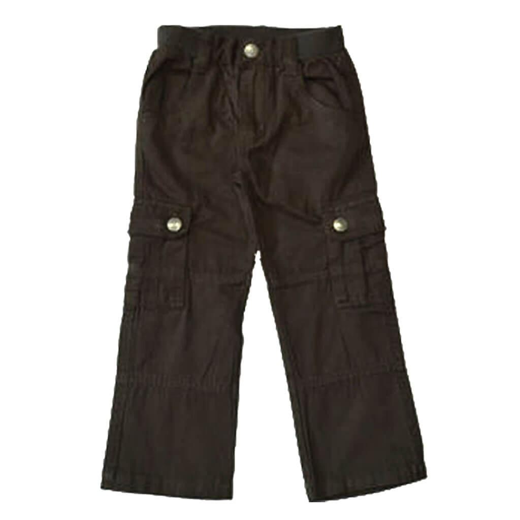 Детски пролетен панталон с карго джобове кафяв
