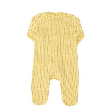 Бебешки цял гащеризон на точки в комплект с лента жълт