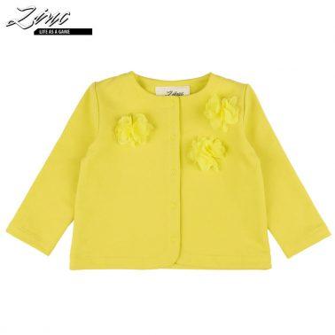 Елегантна бебешка жилетка с 3D цветя в жълто