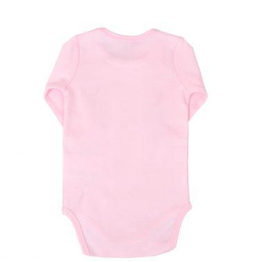 Бебешко боди с дълги ръкави и щампа с цветя в розово