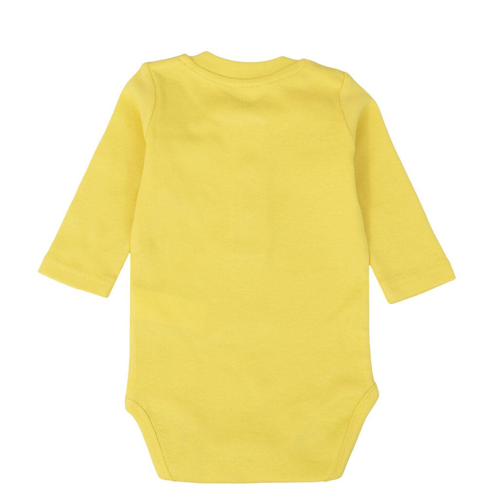 Бебешко боди с дълги ръкави и джобче жълто