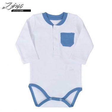 Бебешко боди с дълги ръкави и джобче бяло
