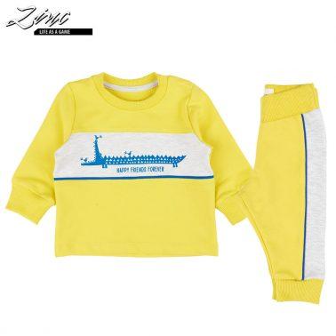 Комплект блуза и долнище с крокодил в жълто