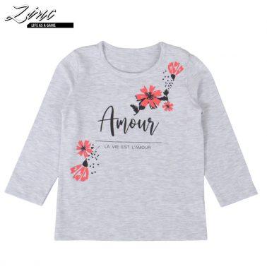Памучна детска блуза с дълги ръкави и цветя в светъл меланж