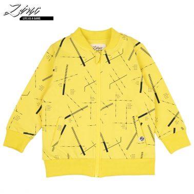 Детски памучен суитшърт с цип и джобове жълт
