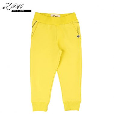 Детско долнище с ластик на талията и джобове жълто
