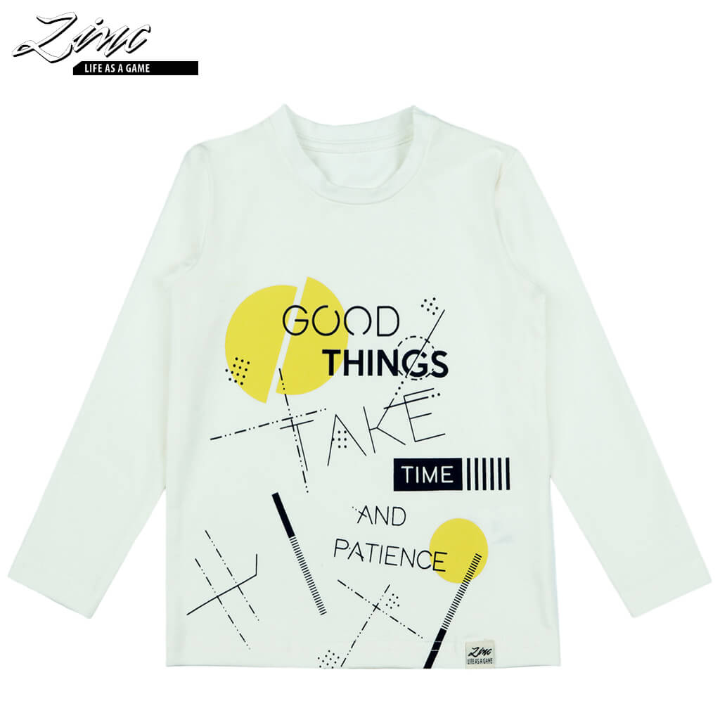 Детска блуза с дълги ръкави Good things take time екрю