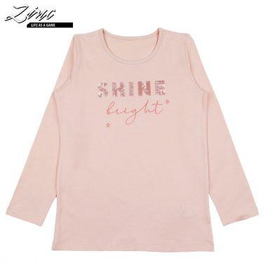 Детска блуза с дълги ръкави и пайети Shine bright розова
