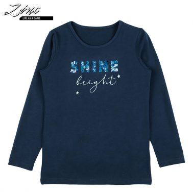 Детска блуза с дълги ръкави и пайети Shine bright тъмно синя