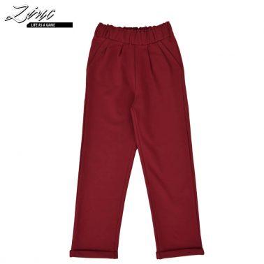 Спортно елегантен детски панталон с висока талия в бордо