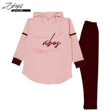 Комплект туника с качулка и клин в розово