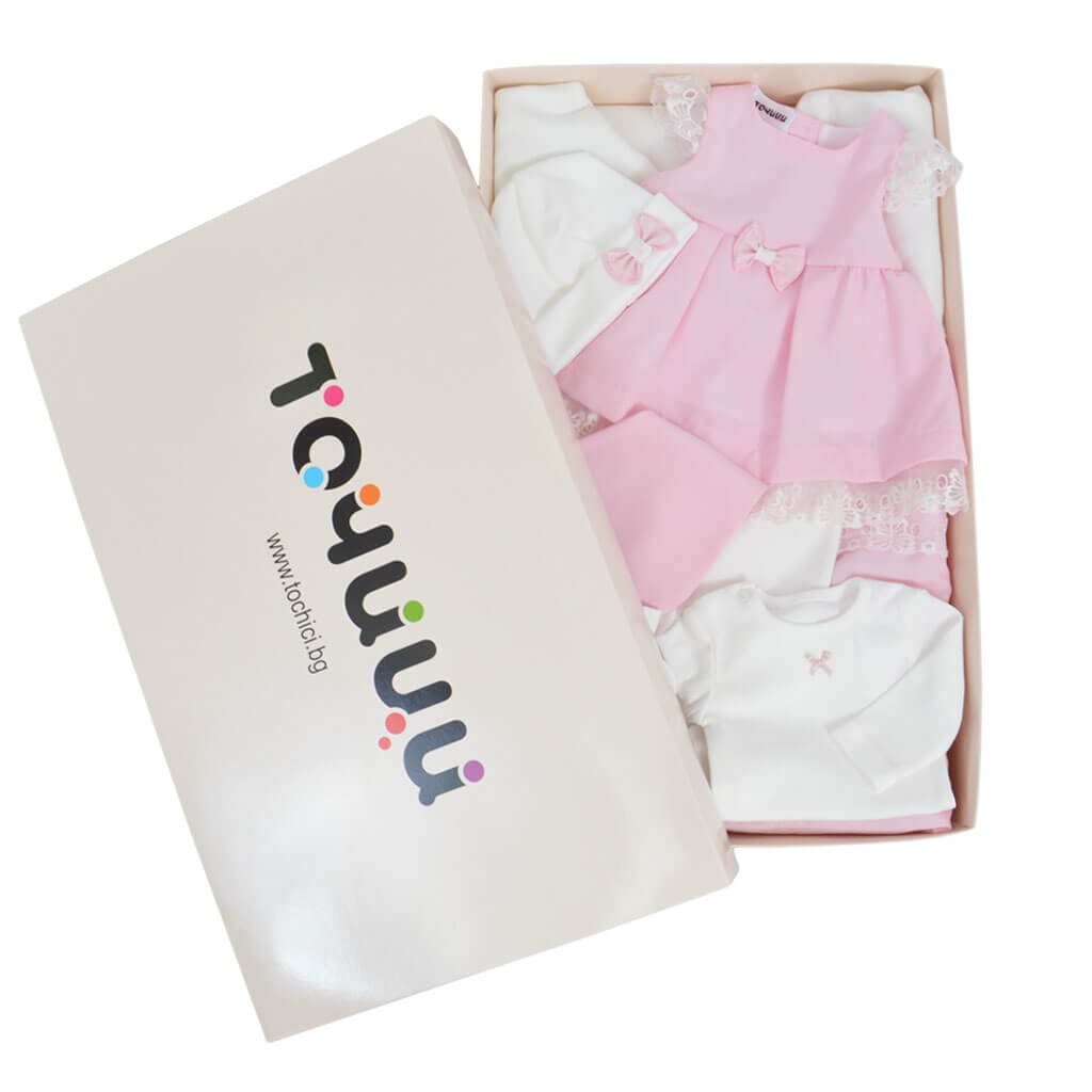 Комплект за изписване Точици от 7 части с рокля и портбебе в розово