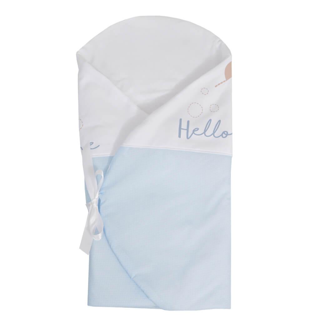 Луксозен бебешки комплект за изписване от 9 части в сиво-син цвят