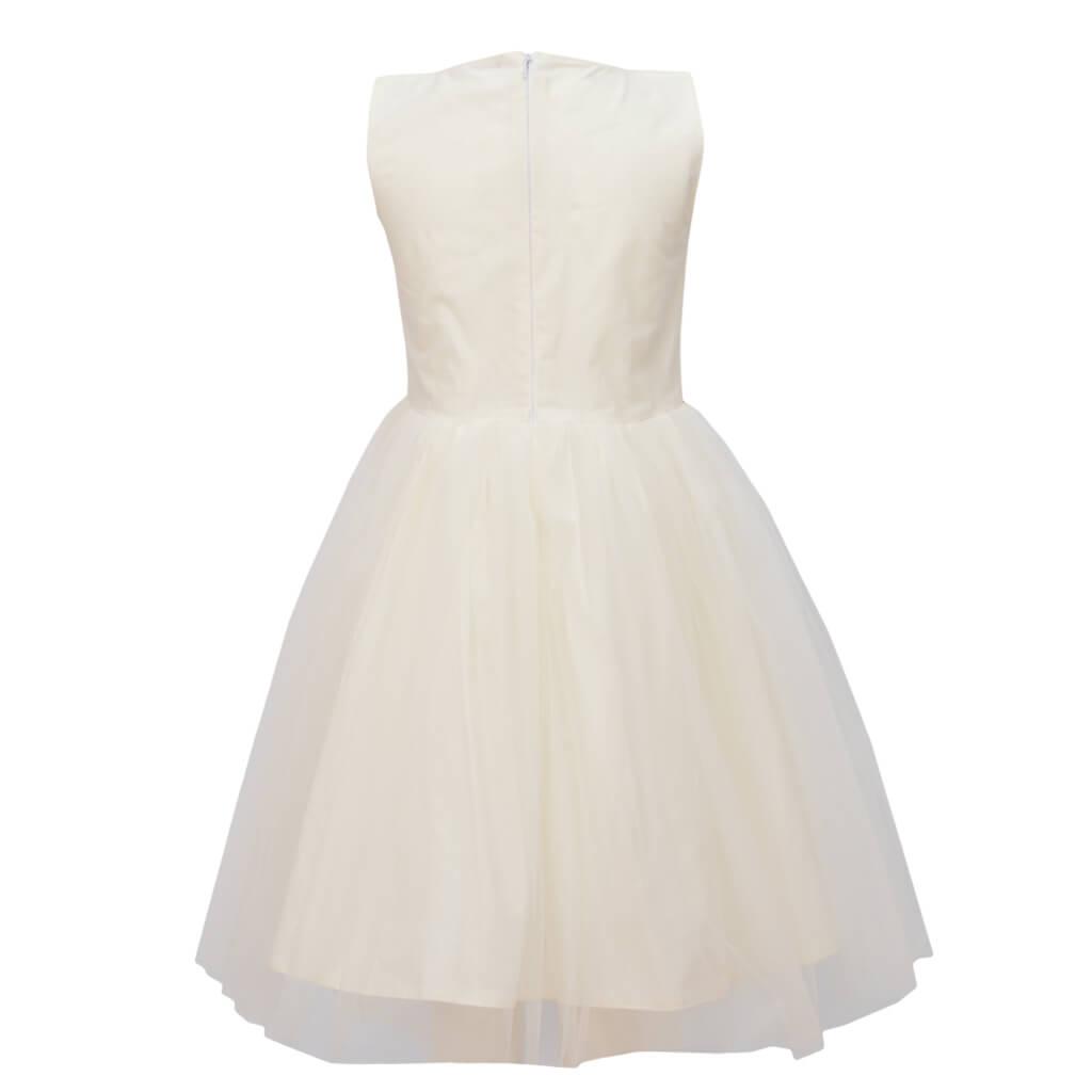 Официална детска рокля с тюл и златиста дантела в екрю