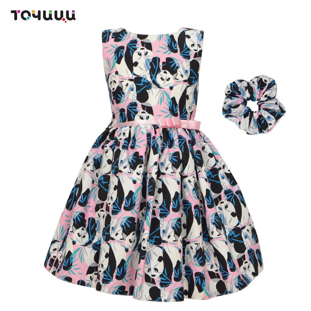 Модерна детска рокля с панди и подарък аксесоар тъмно синя