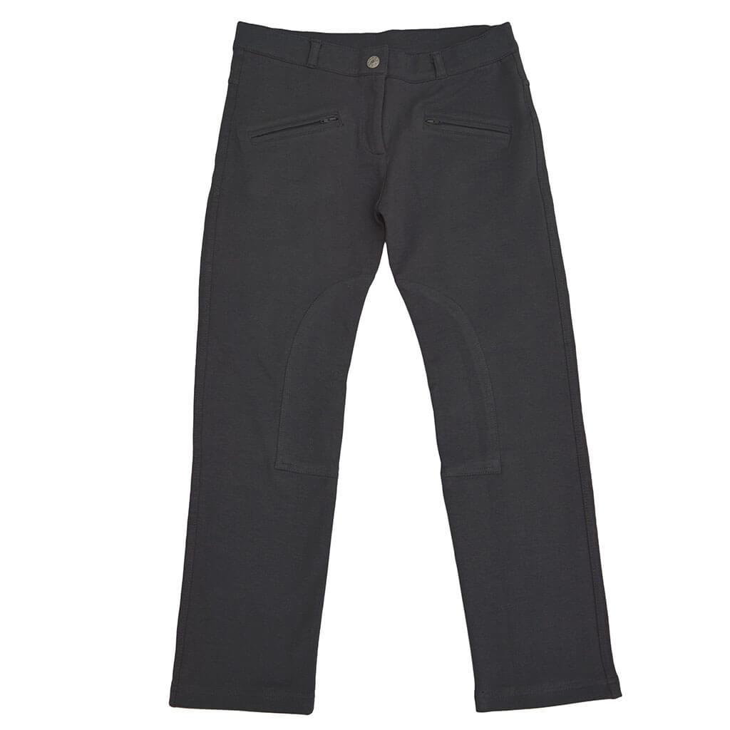 Детски трикотажен панталон с копче сив