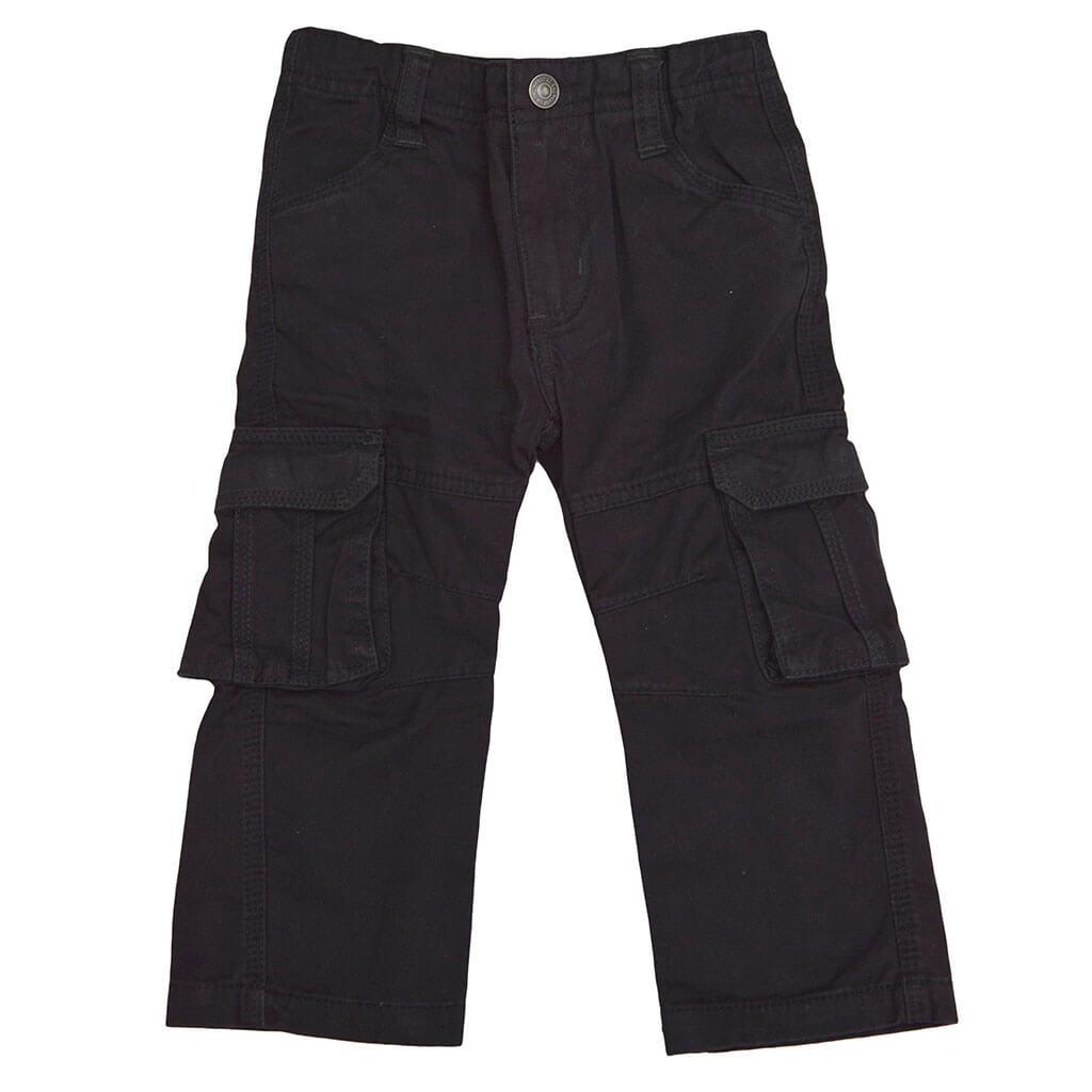 Детски прав памучен панталон с карго джобове в черно
