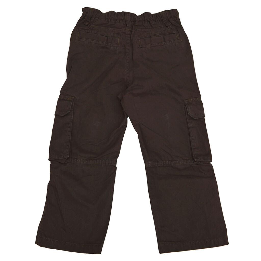 Детски прав памучен панталон с карго джобове в кафяво