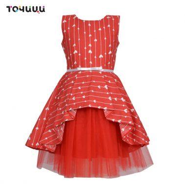 Стилна детска рокля с тюл на сърца в червено