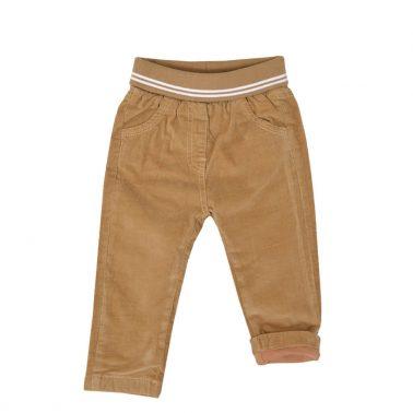 Бебешки плътен панталон с широк ластик и джобове в тъмно бежово