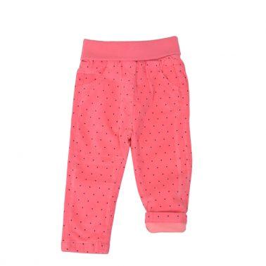 Бебешки плътен панталон с джобове на точки в розово