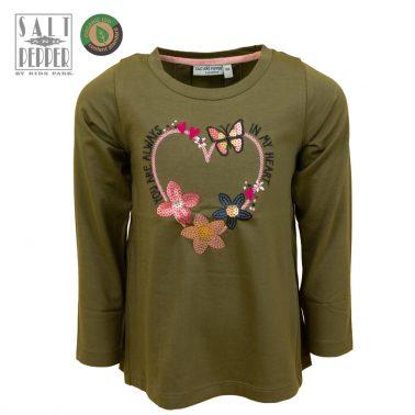 Детска памучна блуза с дълги ръкави и апликация със сърце и пайети в зелено