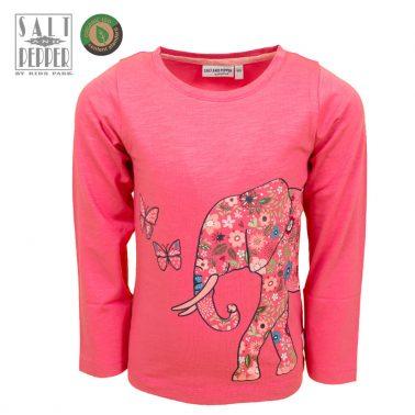 Детска блуза с дълги ръкави и апликация със слон и пеперуда в розово