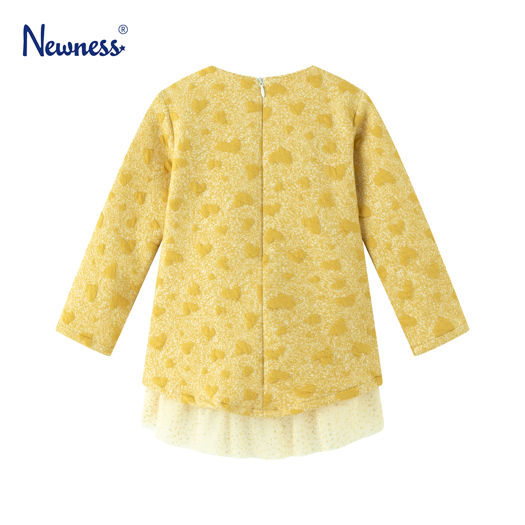 Детска плътна рокля с тюл и цвете в жълт цвят