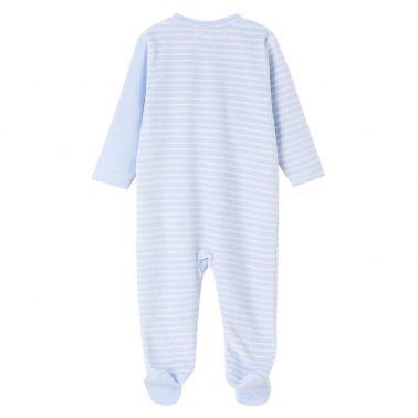 Бебешки гащеризон плюшен с кърпа за гушкане в светло синьо