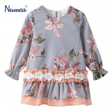 Детска официална рокля с принт на цветя в сиво