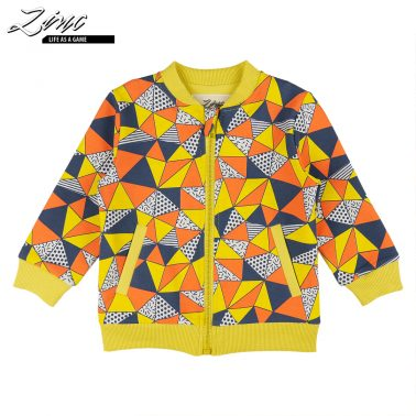 Детски суитшърт с десен на триъгълници жълт