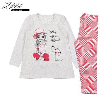 Детски комплект блуза и клин с щампа момиче в светъл меланж