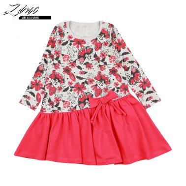 Детска рокля с асиметрична кройка и панделка в цвят диня